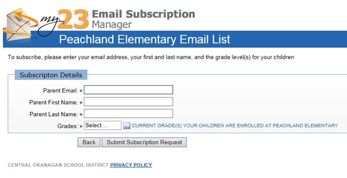 Peachland Email List